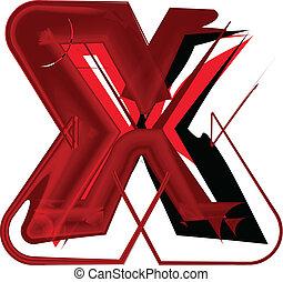 x, fuente, artístico, carta