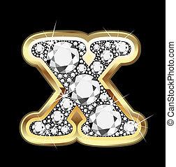 X gold and diamond bling bling