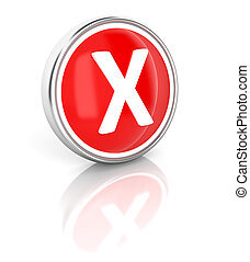 X icon on glossy red round button