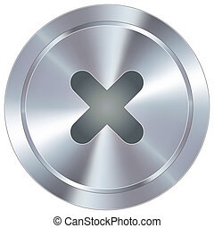 X icon on industrial button - X or close icon on round ...