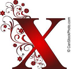 x, letra, vermelho, capital