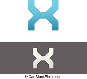 X Letter Alphabet Abstract vector text logo