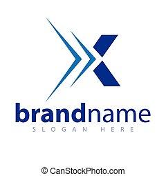 X Letter Arrow Logo Vector stock template