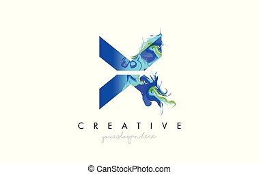 X Letter Icon Design Logo With Creative Artistic Ink Painting Flow in Blue Green Colors