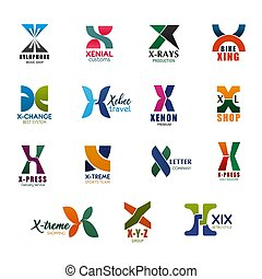 X letter icons and fonts for business organization