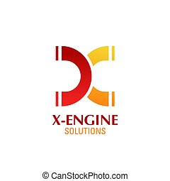 X letter vector icon for engine automotive solutions