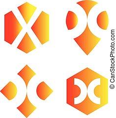 x, lettera, logotipo