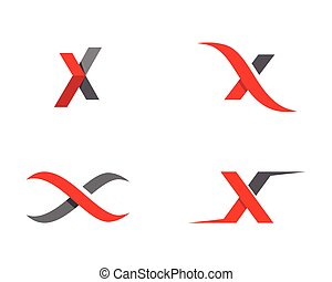 x, logotipo, plantilla, carta