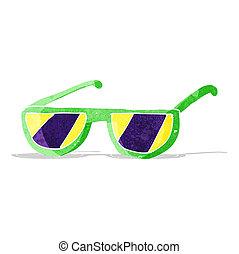 x, lunettes, dessin animé, rayon