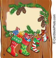 x - mamis, familia , marco espacio, text., fondo., madera, tarjeta, año, medias, nuevo, navidad, vacío