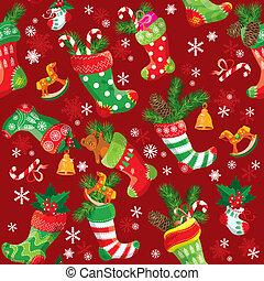 x - mamis, patrón, stockings., seamless, plano de fondo, año, nuevo, feriado, navidad, design.