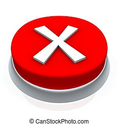X mark round button 3d. Isolated on white.