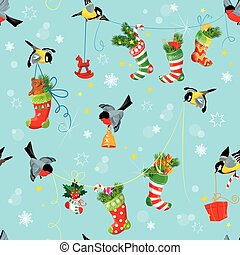 X-mas and New Year background with Birds holding Christmas stockings, gifts and presents. Seamless pattern for winter holiday design.