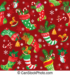 X-mas and New Year background with Christmas stockings. Seamless pattern for holiday design.