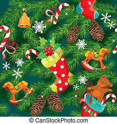 X-mas and New Year background with Christmas accessories, stockings, sweets, horse and teddy bear toys and fir tree branches. Seamless pattern for holiday design.