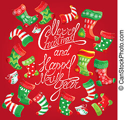 X-mas and New Year card with family Christmas stockings