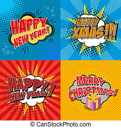 x-mas and new year - Set of pop art comic happy new year and...
