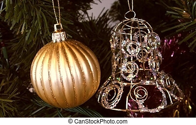 X-mas Ball & bell on Christmas tree