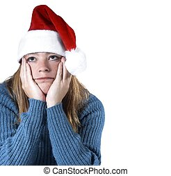 x-mas blues - woman isolated with the christmas blues