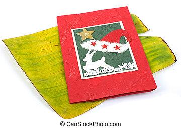X-mas card  - x-mas card on banana leaf