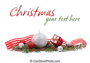 X-mas decoration concept on white background with place for...