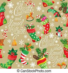 x-mas, e, ano novo, fundo, com, natal, stockings., seamless, padrão, para, feriado, design.