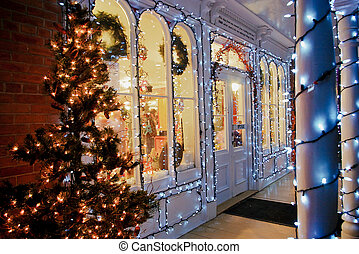 A general store decorated for Christmas with lights and a tree in rural america.