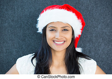 x-mas girl - Closeup portrait of a cute Christmas woman with...