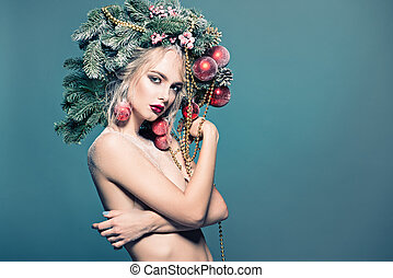 x-mas girl - Portrait of a beautiful young woman with...