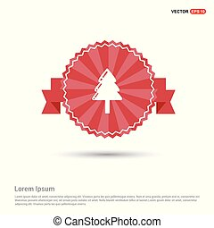 X-Mas Tree Icon - Red Ribbon banner