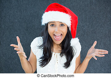 X-mas woman excited - Closeup portrait of a cute Christmas...