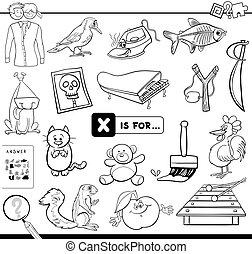 x, onderwijs, spel, kleurend boek