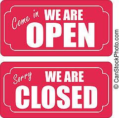 x, open, gesloten