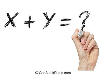 x, plus, y, schreibende, whiteboard
