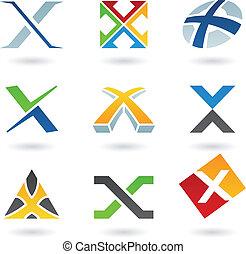x, résumé, lettre, icônes