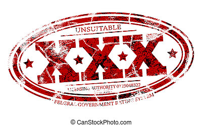 X rated - Detailed rubber stamp of three Xs