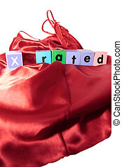 x rated on letter blocks on silk nightie