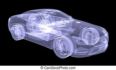 X-ray concept car. Isolated render on a black background