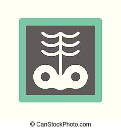 x-ray film of rib and hip bone, medical and hospital related flat design icon set
