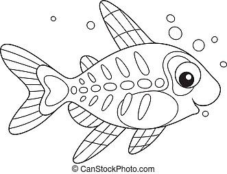 Coloring page x-ray fish. Coloring page illustration ...