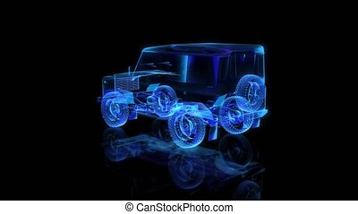 X-ray formation of car. Seamless loop 4k animation. Vehicle Frame with Wheels Solid Virtual Model. Digital technology visualization of 3d