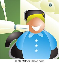 x ray - happy man sitting in dentist chair having a tooth...