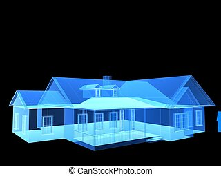 x-ray house - 3d rendered illustration of a transparent ...
