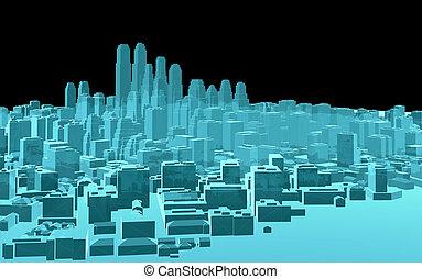 X-Ray Image Of Modern City on Black