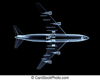 An x ray of a plane in flight.