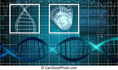 """X-ray scanning of DNA strands"" - ""Abstract science monitor..."