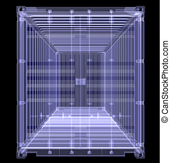 X-ray shipping container isolated on black