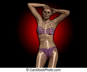 An x ray image of a women in a pose.