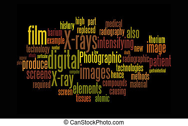 x-ray word clouds on black background