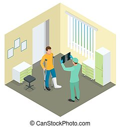X-rays of leg fracture patients concept. Medical doctor is talking to patient with broken leg and showing him X-ray picture in hospital room. Isometric vector illustration